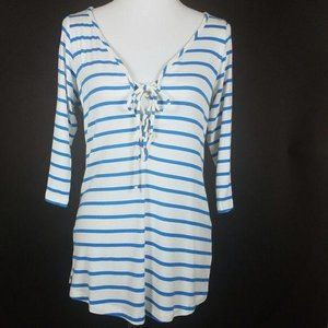 Amour Vert Bristol Blue Stripped Lace Up Top